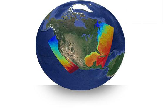 Simulation Output on a Globe
